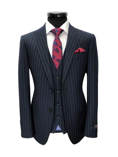 Navy pinstripe 2 button suit with waistcoat - Pamoni