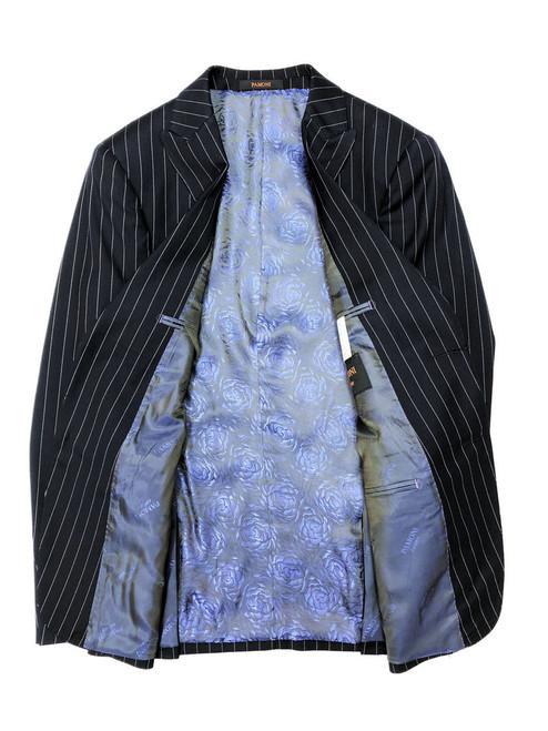 Navy pinstripe  Blazer with silky rose inside lining - Pamoni