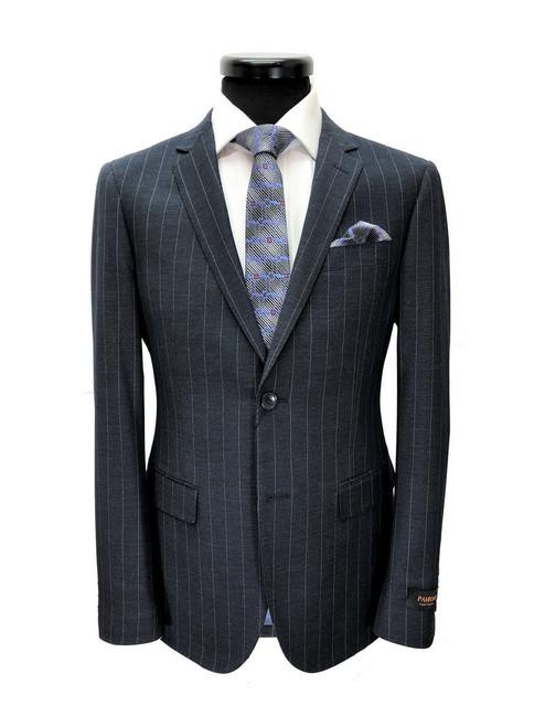 Charcoal pinstripe 2-button slim fit suit - Pamoni