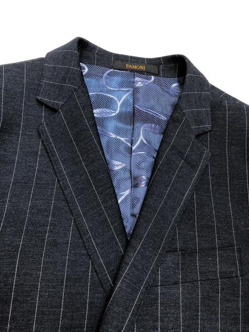 Close up of charcoal pinstripe 2-button suit - Pamoni