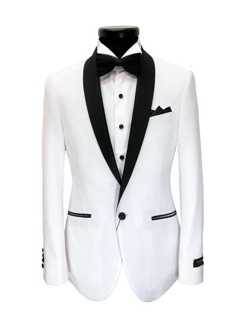White Black Lapel Slim Fit Dinner Suit