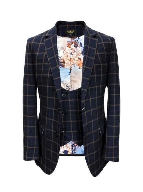 Navy Brown Check Tweed Blazer With Matching Waistcoat