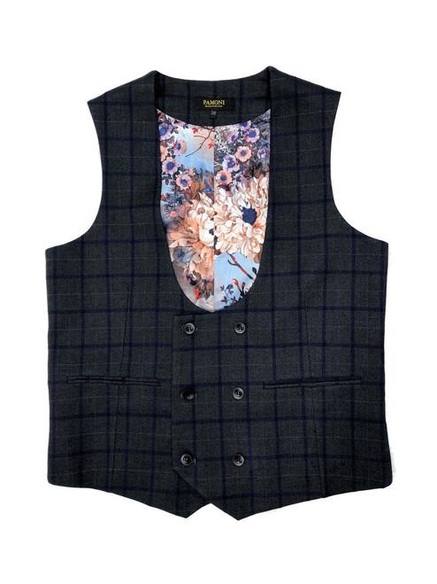 Grey with blue check  waistcoat - Pamoni