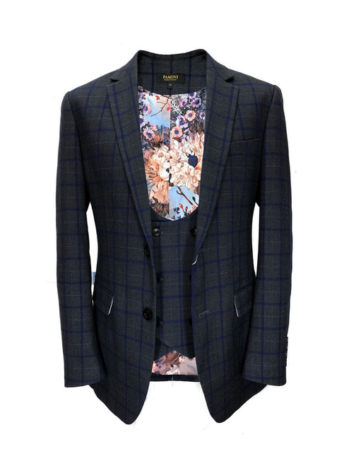 Grey with blue check tweed blazer with matching waistcoat - Pamoni