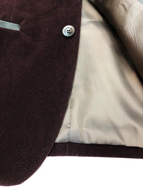 Burgundy Snakeskin Effect Velvet Dinner Jacket
