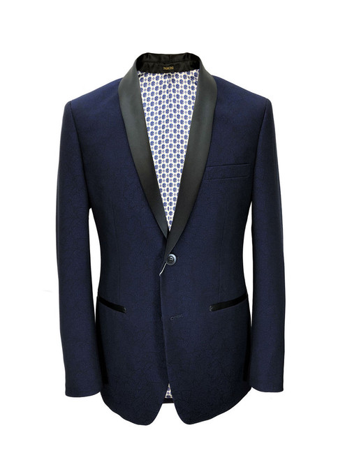 Blue Textured Dinner Jacket