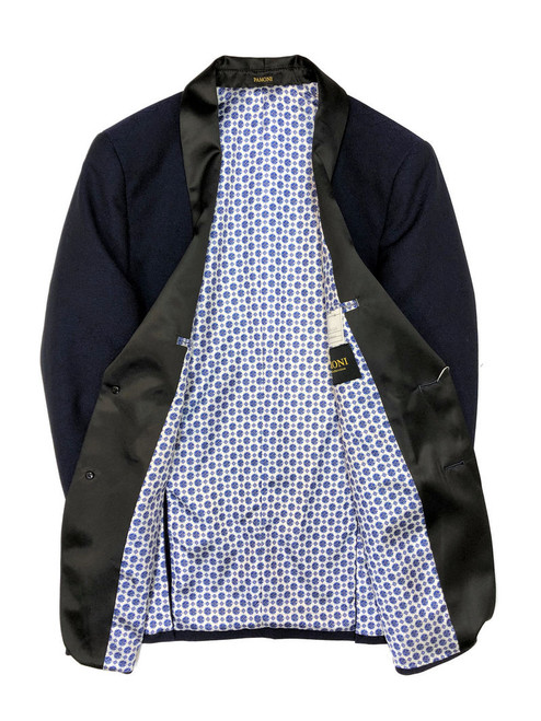 Blue Textured Dinner Jacket with spotted lining
