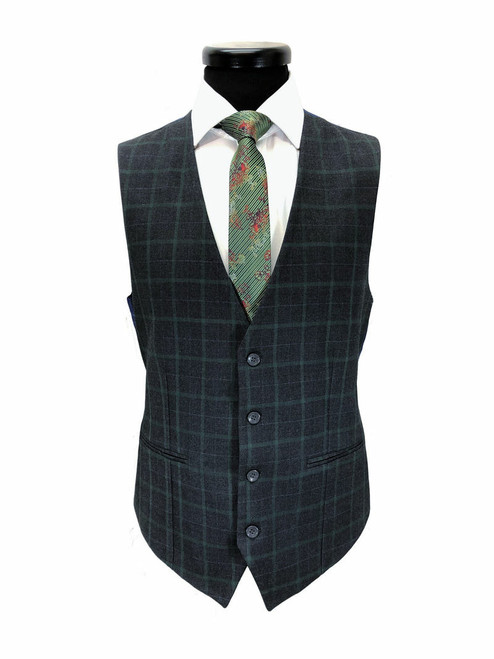 Grey & Green Check 2 Button 3-piece Suit