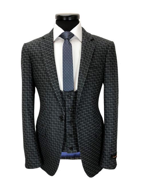 Charcoal Zigzag Pattern 3-piece Suit