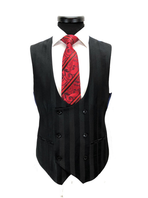 Black Bold Stripe 2-button 3-piece Suit