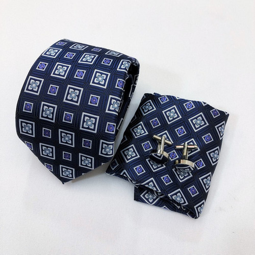 Abstract Floral Square Tie & Cufflinks Set