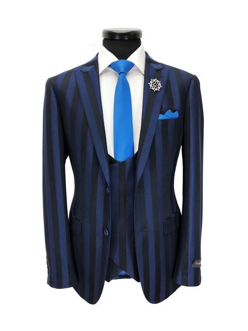Blue Bold Stripe 2-button 3-piece Suit