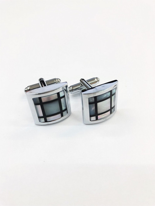 Mother Of Pearl Check Cufflinks