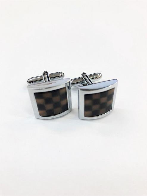 Black & Brown Chequered Cufflinks