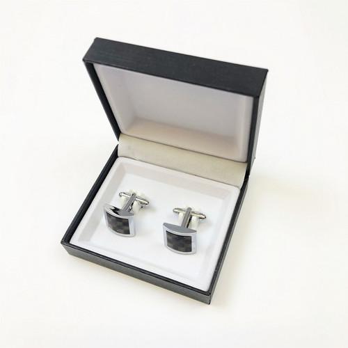 Black & Brown Chequered Cufflinks in Pamoni presentation cufflink box