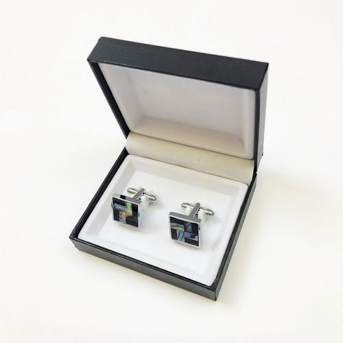 Marble-Tiled Weave Cufflinks in Pamoni presentation cufflink box