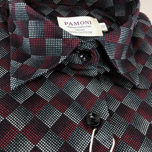 Maroon Halftone Diamond Check Shirt close up - pamoni