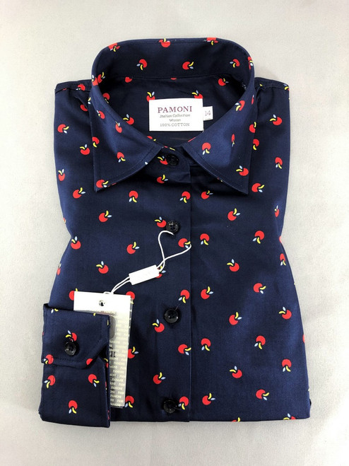Navy Apple Print Fitted Shirt