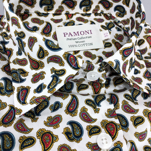 White Paisley Print Fitted Shirt