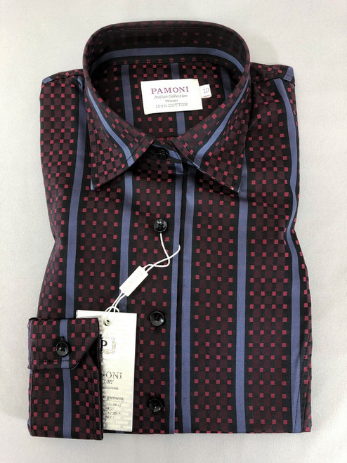 Maroon Check With Purple Stripe Fitted Shirt