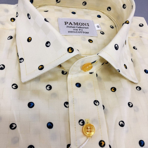 Close up of spotted Print Slim Fit Shirt