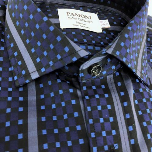 navy square with bold stripe shirt - pamoni