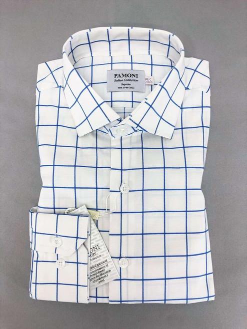 White Blue Check Slim Fit Shirt Men's Shirt