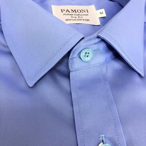 Plain Blue Slim Fit Shirt
