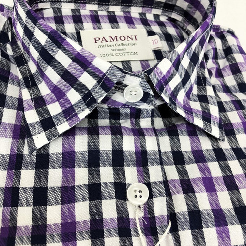 Purple Grey Check Fitted Shirt