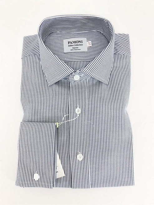 Navy Rope Stripe Slim Fit Shirt Men's Shirt