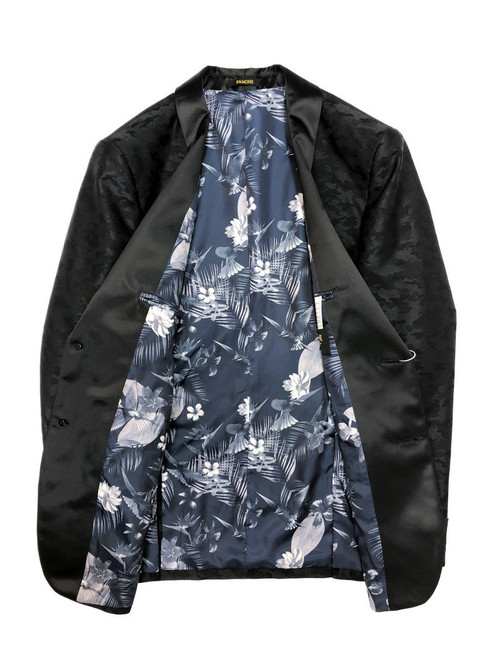 Black Jacquard Brocade Dinner Jacket with blue floral lining