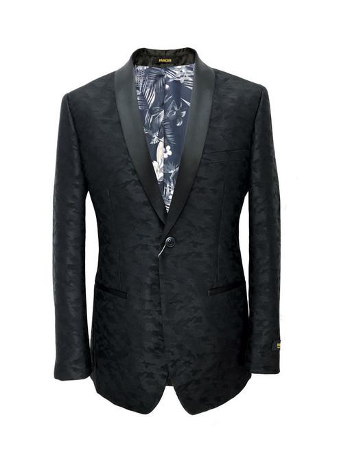 Black Jacquard Brocade Dinner Jacket