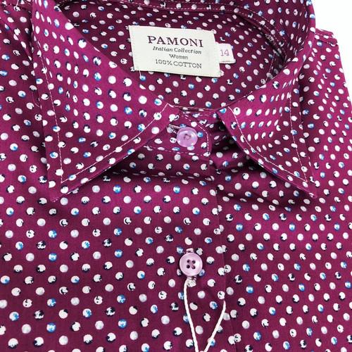 Close up of Marble Ball Print Pure Cotton Shirt - Pamoni