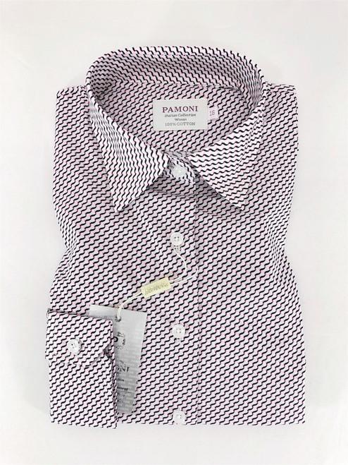 Black/Pink Chevron Embroidery Shirt - Pamoni