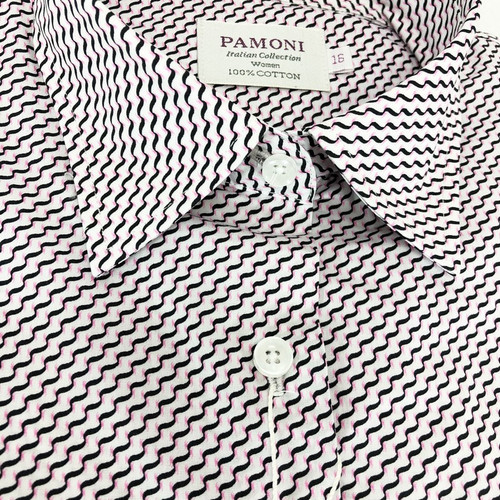 Close up of Black/Pink Chevron Embroidery Shirt - Pamoni