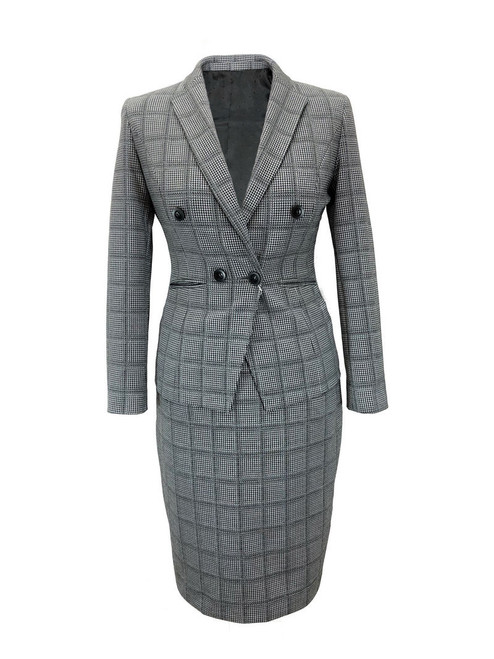 grey check dog tooth fitted suit - Pamoni