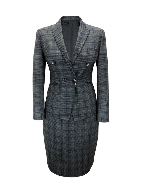Dark Grey Prince Of Wales Check Fitted Suit