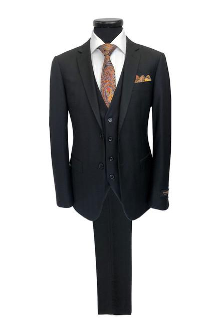 Black herringbone 2 button 3-piece suit - Pamoni
