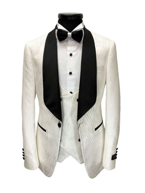 Cream Patterned 3-piece Tuxedo With Black Shawl Lapel Men's Suit