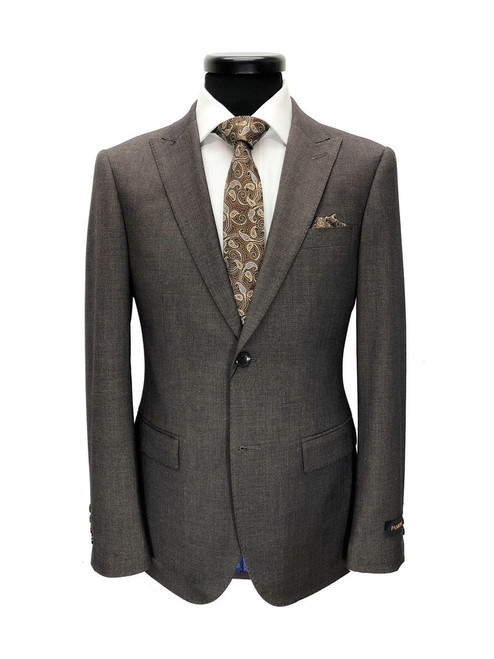 Brown Two Button Slim Fit Suit