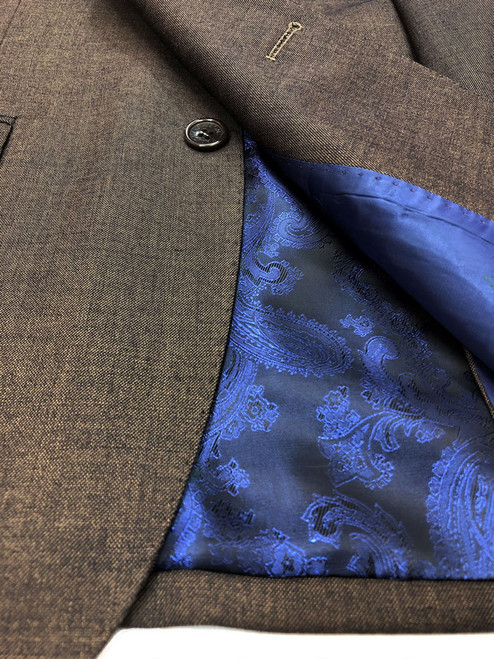 Close up of brown two button slim fit suit