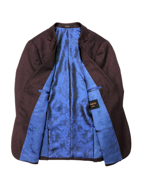 Burgundy 2-button slim fit blazer with blue paisley lining