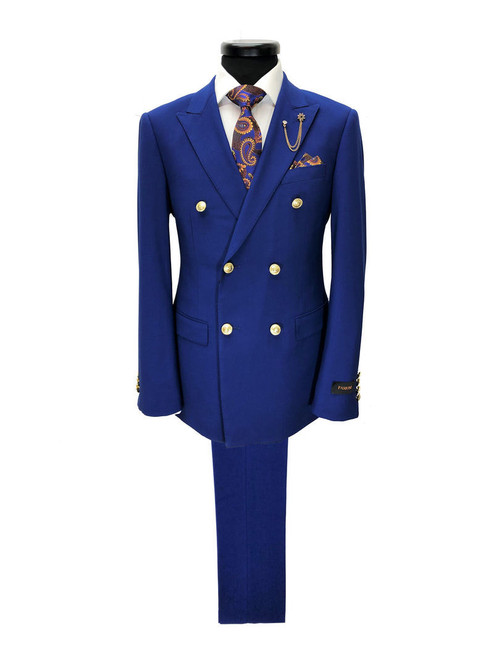 Cobalt Blue Double Breasted Suit With Gold Button