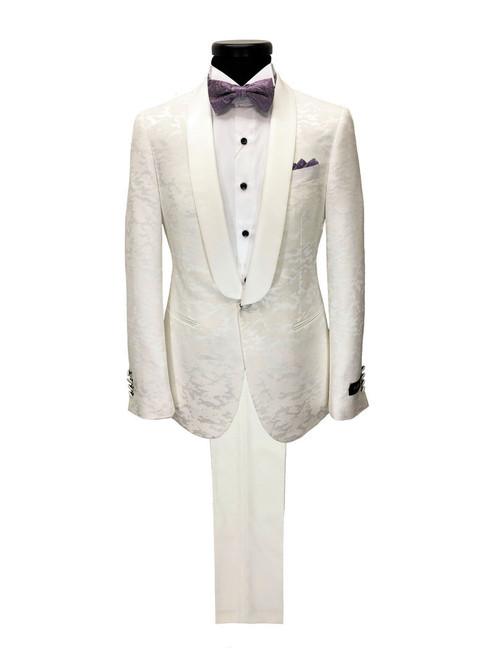 Cream Jacquard Brocade tuxedo - Pamoni
