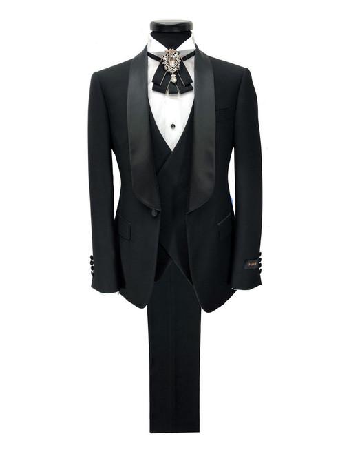 Black 3-piece tuxedo with satin shawl lapel - Pamoni