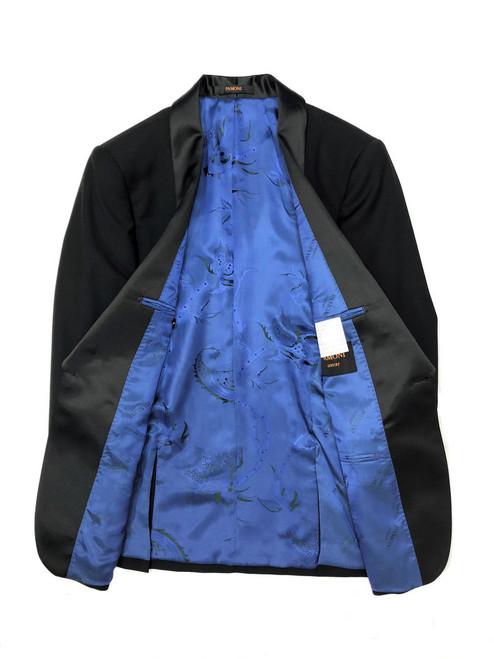 Black tuxedo blazer with blue silky floral lining - Pamoni