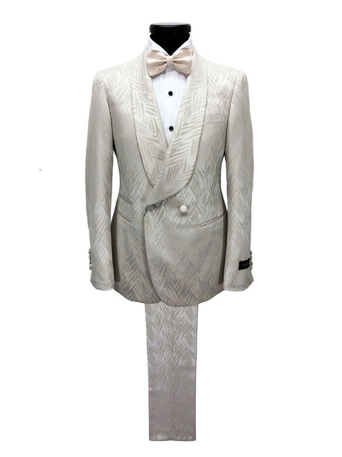 Chevron champagne shawl lapel double breasted suit - Pamoni