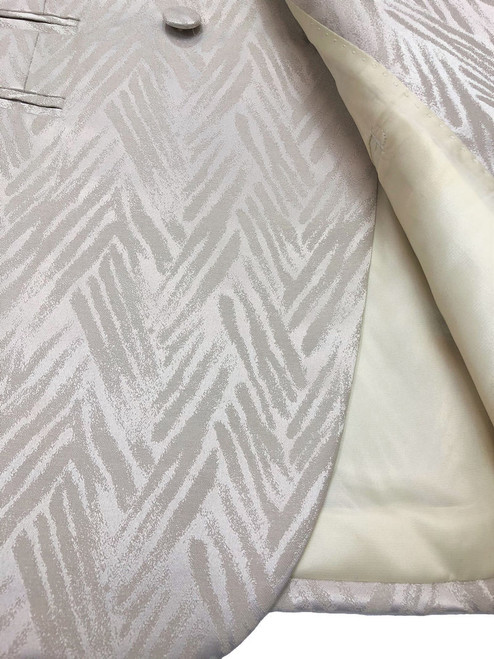 Zoomed in Chevron Champaign poly-viscose, wool blend material - Pamoni
