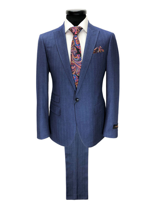 Blue striped one button complete suit - Pamoni