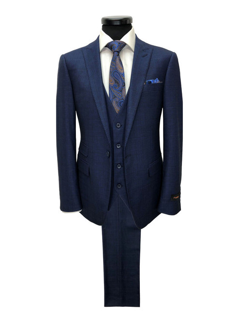Navy prince of wales check one button 3-piece suit - Pamoni